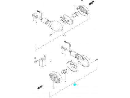 [1] Blinkr přední levý kompletní (ukazatel směru) - Hyosung GT 125 N E