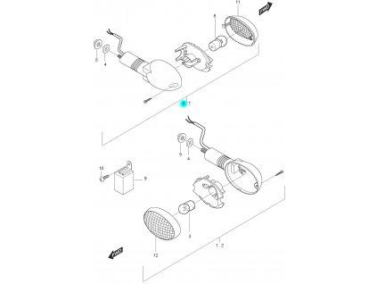 [6] Blinkr pravý přední kompletní (ukazatel směru) - Hyosung GT 125 N E