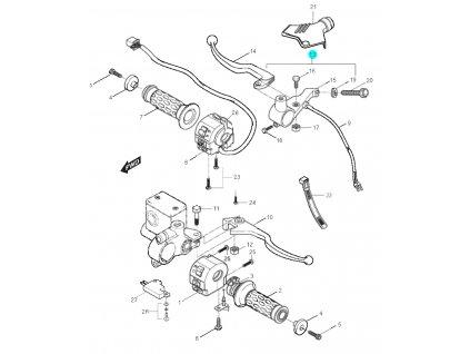[13] Držadlo spojkové kompletní / černá páčka (rukojeti, páčky a ovládání) - Hyosung GT 125 N