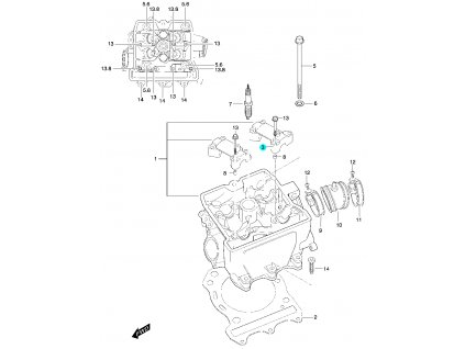 [3] Pouzdro vačkového hřídele / vstup (hlava válce) - Hyosung 450 Sport