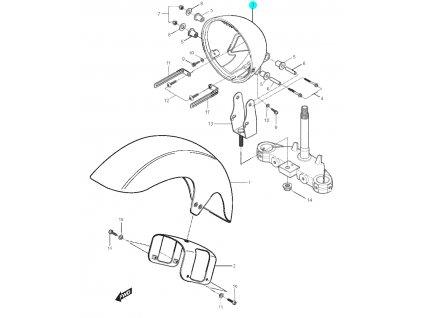 [3] Zadní kryt světlometu / průměr 180 mm (blatník a kryt světlometu) - Hyosung GT 125 N
