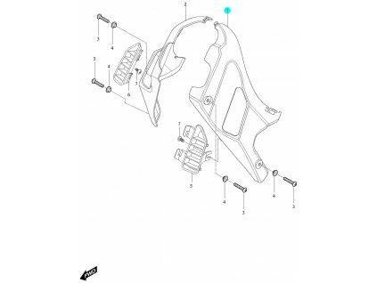 [1] Kryt levý / černý (kryty rámu pod nádrží) - Hyosung GV 250i D (FI Delphi)