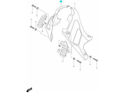 [2] Kryt pravý / černý (kryty rámu pod nádrží) - Hyosung GV 250i D (FI Delphi)