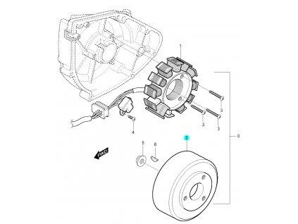 [2] Rotor / setrvačník (FIG19) - Hyosung RX 125