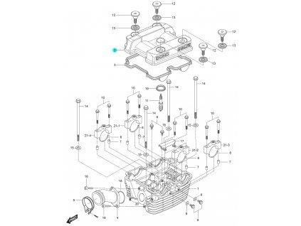 [2] Vrchní kryt / stříbrný (hlava zadního válce) - Hyosung GT 125 N E