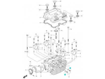[9] Těsnění (hlava zadního válce) - Hyosung GT 125 N E
