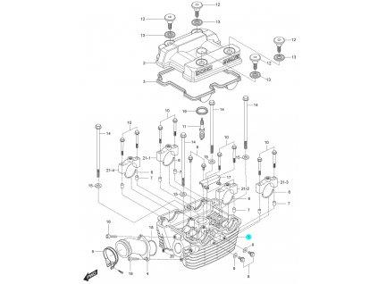 [1] Hlava válce / EURO 3 / černá (hlava zadního válce) - Hyosung GT 125 N E