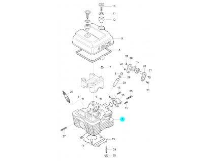 [1] Hlava válce (hlava válce a kryt ventilů) - Hyosung GF 125