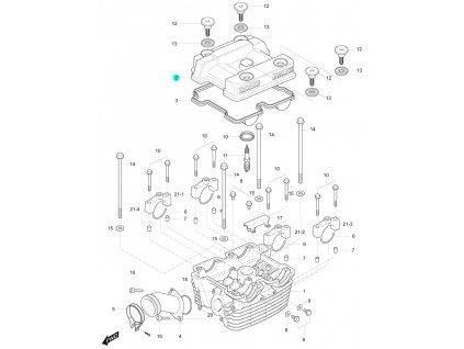 [2] Vrchní kryt / stříbrný (hlava zadního válce) - Hyosung GT 125 R E3