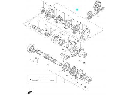[1] Hřídel kompletní (převodovka) - Hyosung GT 125 N