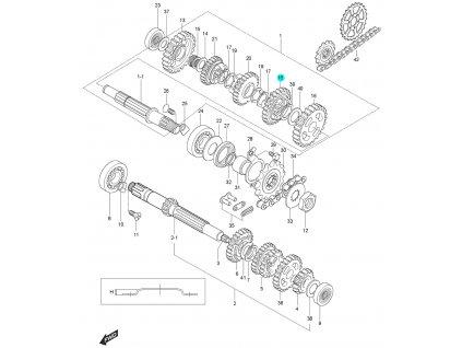 [18] Ozubené kolo / 3 rychlostní stupeň (převodovka) - Hyosung GT 125 N