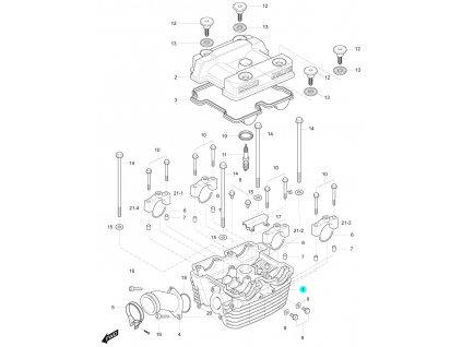 [1] Hlava válce / EURO 3 (hlava zadního válce) - Hyosung GT 125 R E3