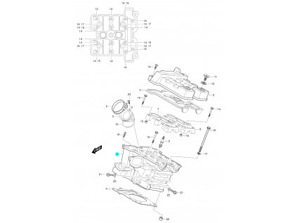 [1] Hlava válce kompletní včetně ventilů / 27 mm napínák (FIG01h) - Hyosung GT 650 S & R