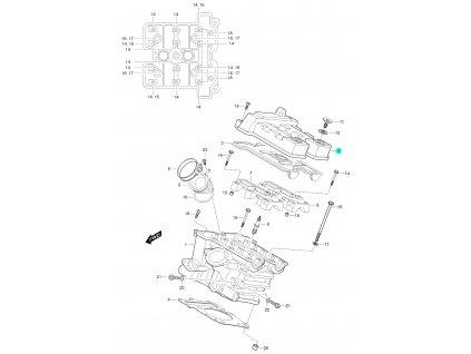 [2] Vrchní kryt (hlava zadního válce) - Hyosung GT 650 S & R