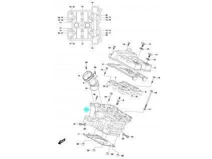 [1] Hlava válce kompletní včetně ventilů / 27 mm napínák (FIG01h) - Hyosung GT 650 N