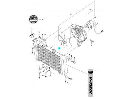 [1] Radiátor / šedý (FIG03) - Hyosung GT 650 N