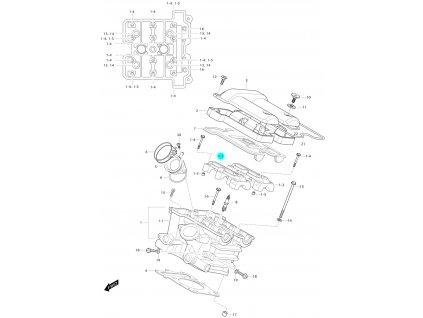 [1-2] Pouzdro vačkového hřídele / vstup (hlava zadního válce) - Hyosung GV 650 Fi & LE30