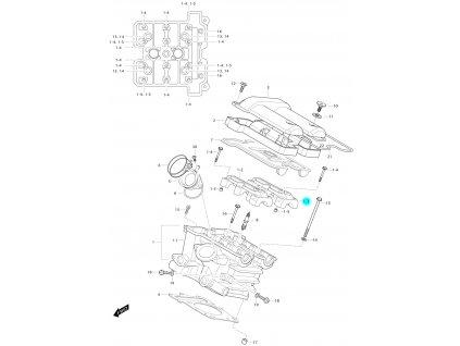 [1-3] Pouzdro vačkového hřídele / výstup (hlava zadního válce) - Hyosung GV 650 Fi & LE30