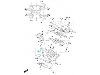 [1-1] Hlava válce kompletní včetně ventilů / 27 mm napínák (FIG01h) - Hyosung GV 650