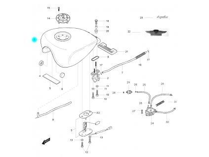 [1] Nádrž / červená (palivová nádrž) - Hyosung GV 125