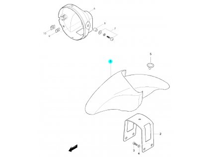 [1] Blatník přední / modrá perleť (FIG36) - Hyosung GF 125