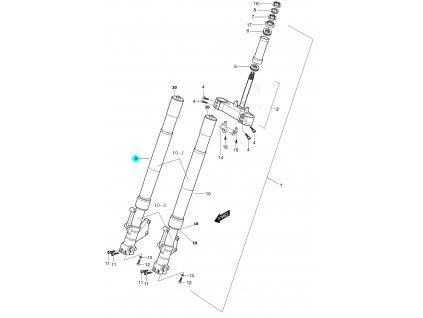 [9] Vidlice přední pravá kompletní (vidlice přední) - Hyosung GT 650 S & R