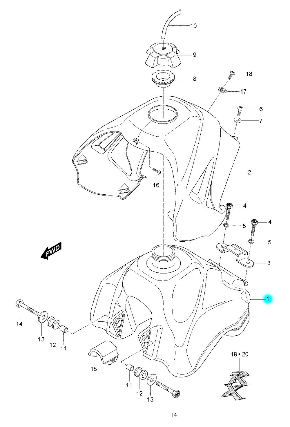 [1] Nádrž (palivová nádrž) - Hyosung RX 125