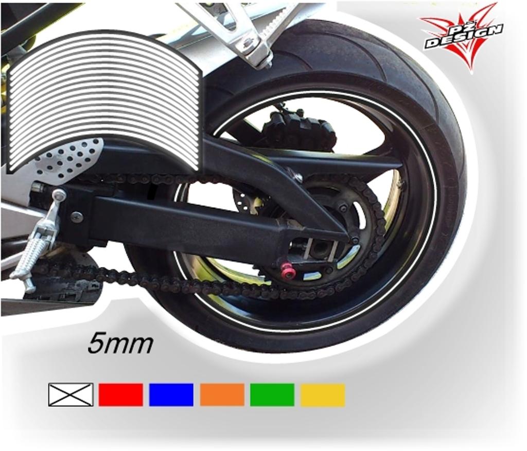 """Reflexní proužky na ráfky kol, šíře 5 mm Barva: Bílostříbrná, Velikost kola: 20"""" - 21"""""""