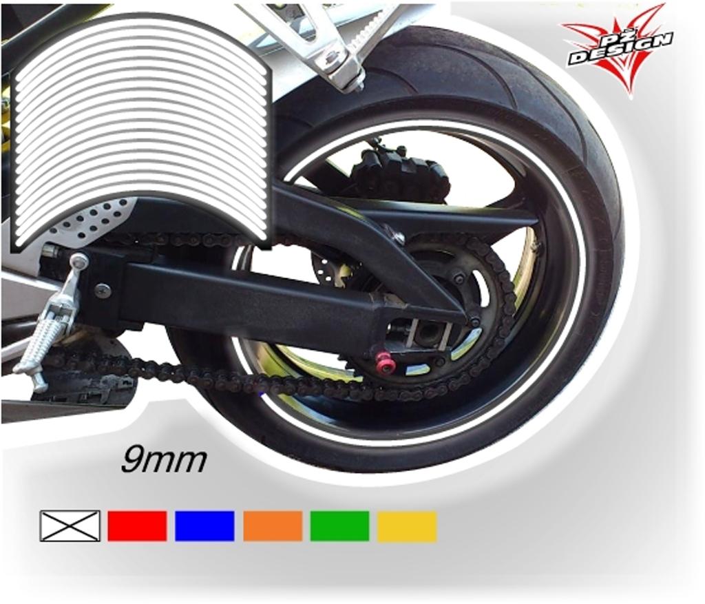 """Reflexní proužky na ráfky kol, šíře 9 mm Barva: Bílostříbrná, Velikost kola: 20"""" - 21"""""""