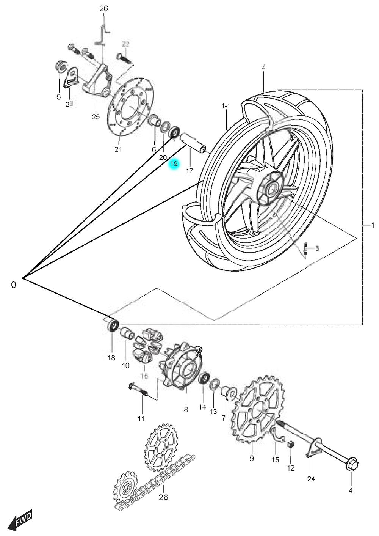 [19] Ložisko (zadní kolo) - Hyosung GT 125 N