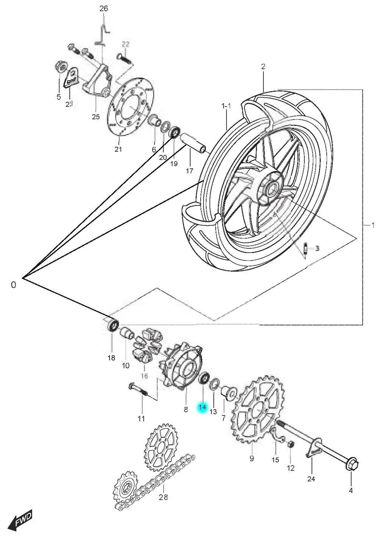 [14] Ložisko (zadní kolo) - Hyosung GT 125 N