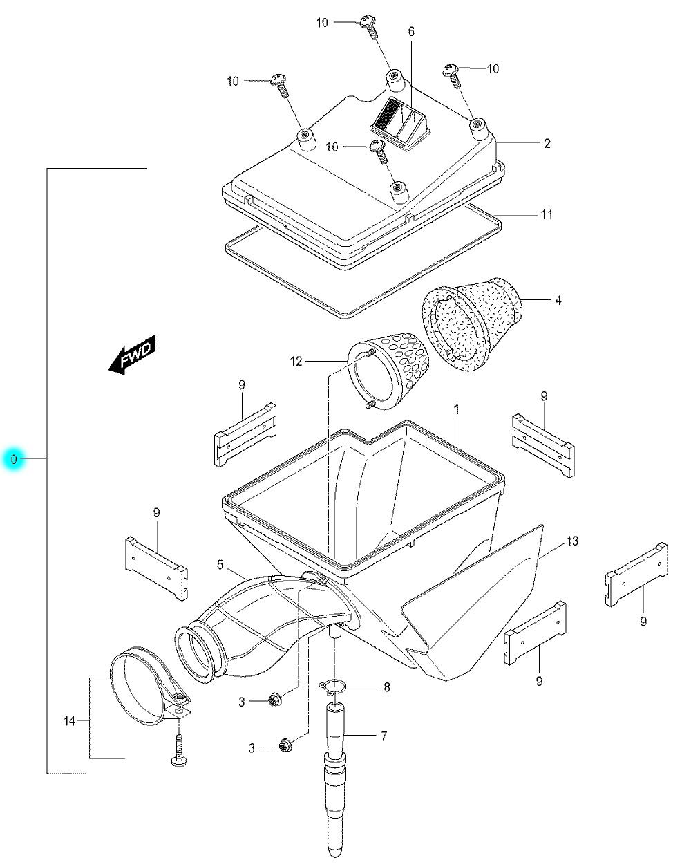 [0] Vzduchový filtr kompletní (vzduchový filtr) - Hyosung RX 125