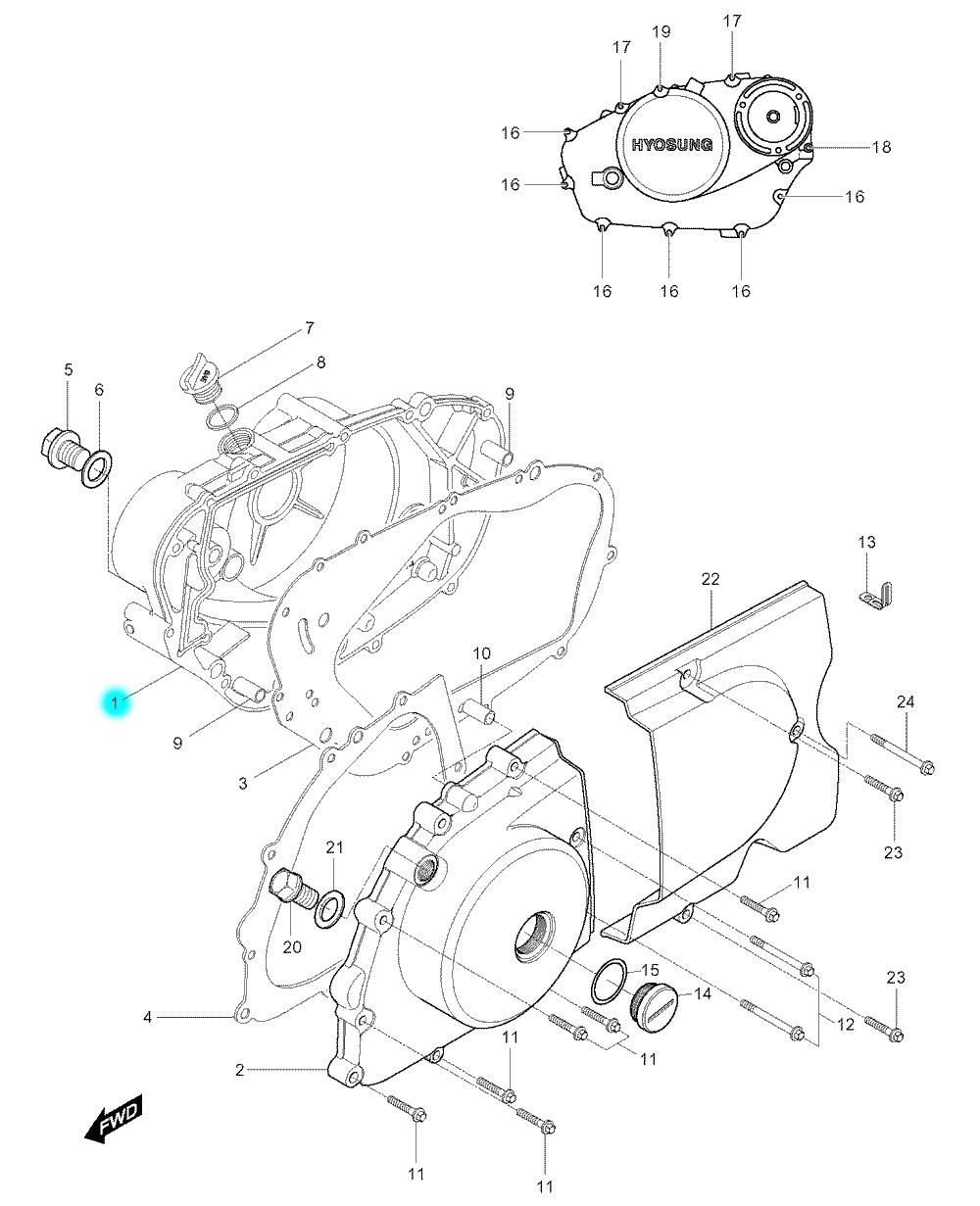 [1] Boční kryt motoru (motor - kryty skříně) - Hyosung GV 250