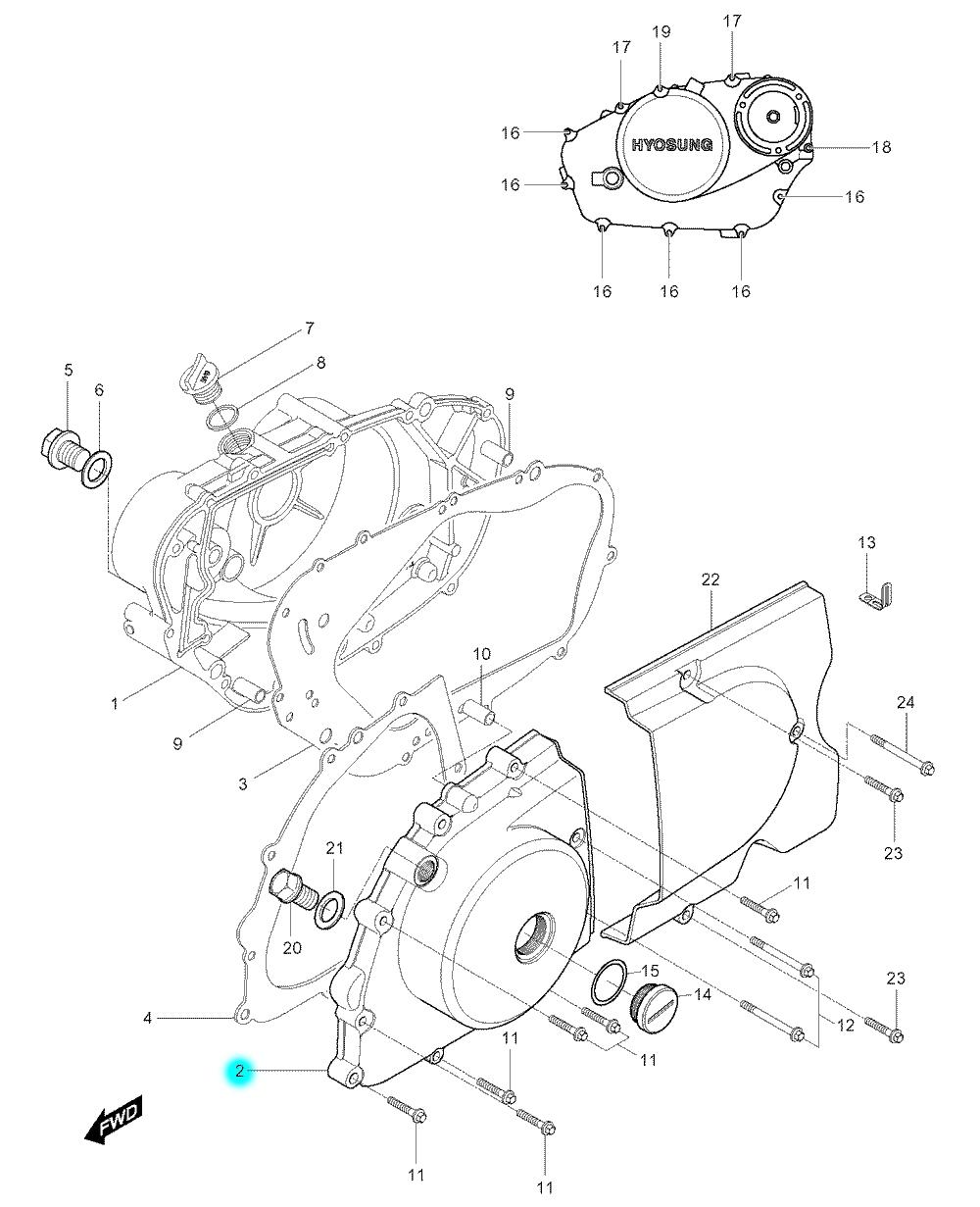 [2] Boční kryt motoru (motor - kryty skříně) - Hyosung GV 250
