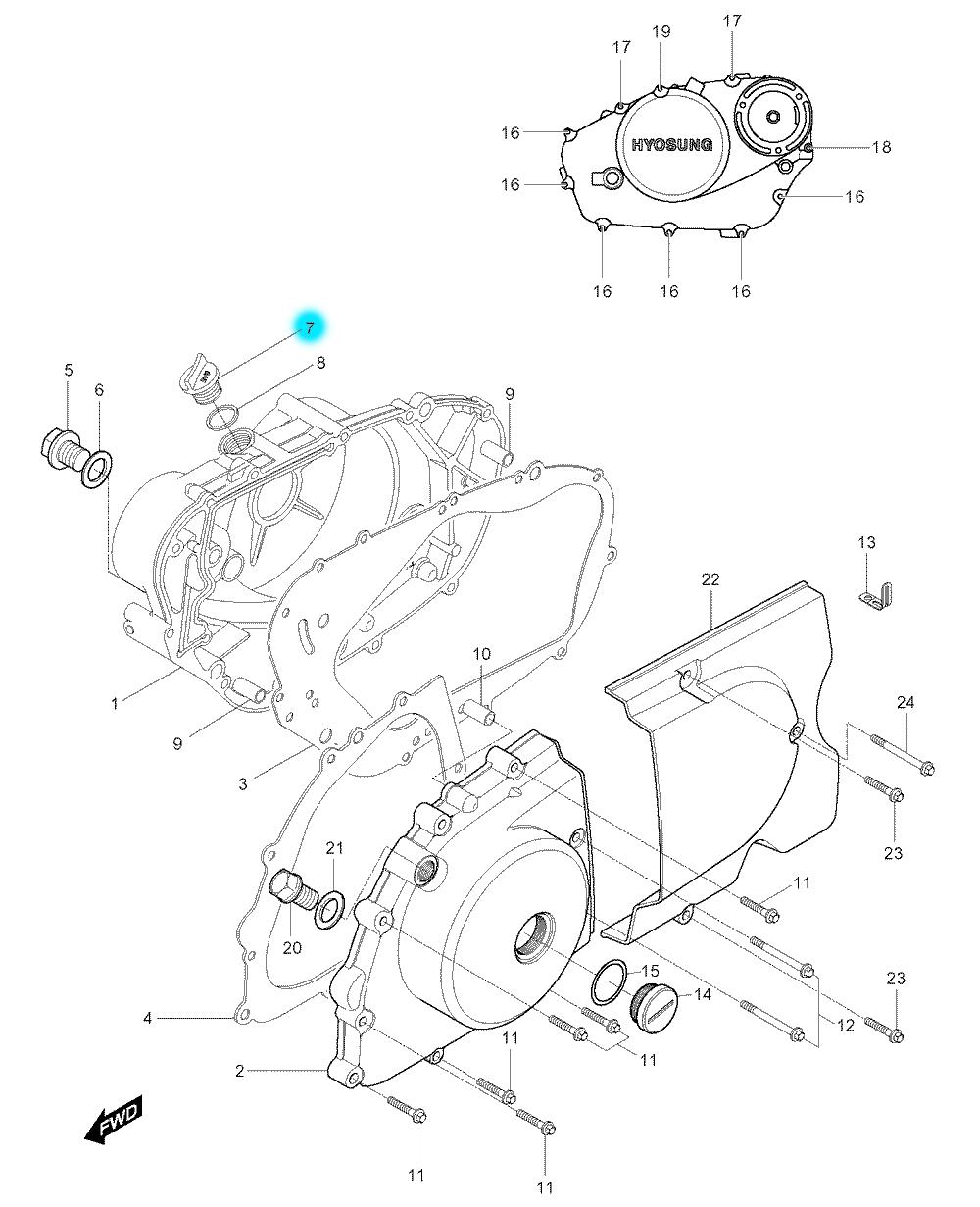 [7] Olejová zátka 09259-2000903P (motor - kryty skříně) - Hyosung GV 250