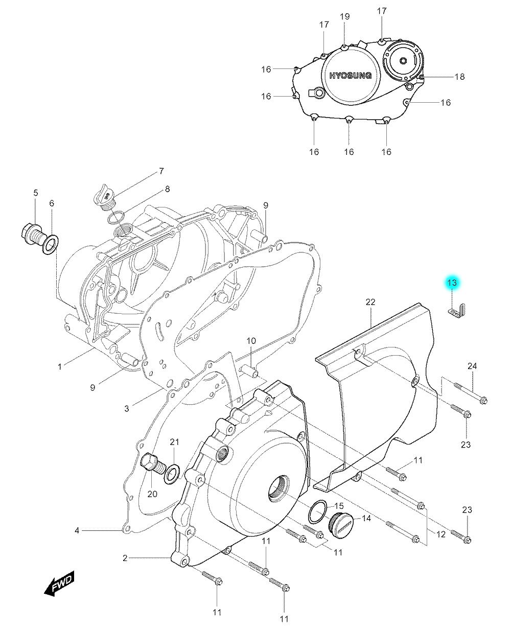 [13] Plechová svorka (motor - kryty skříně) - Hyosung GV 250