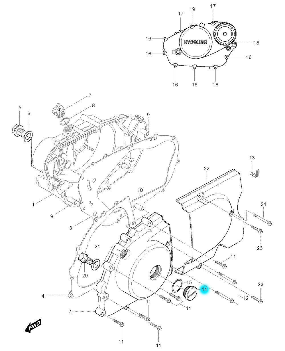 [14] Šroubová zátka (motor - kryty skříně) - Hyosung GV 250