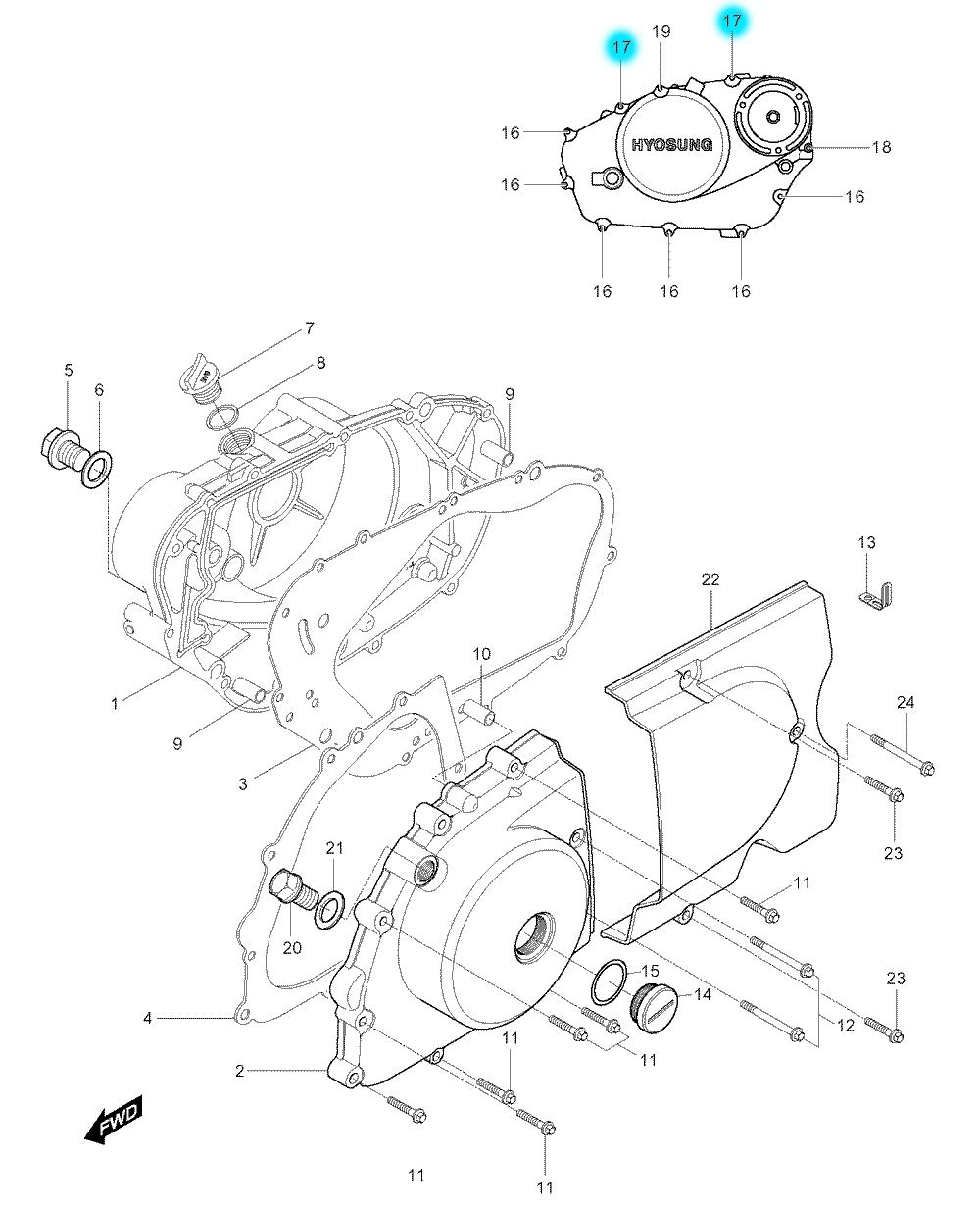 [17] Šroub (motor - kryty skříně) - Hyosung GV 250