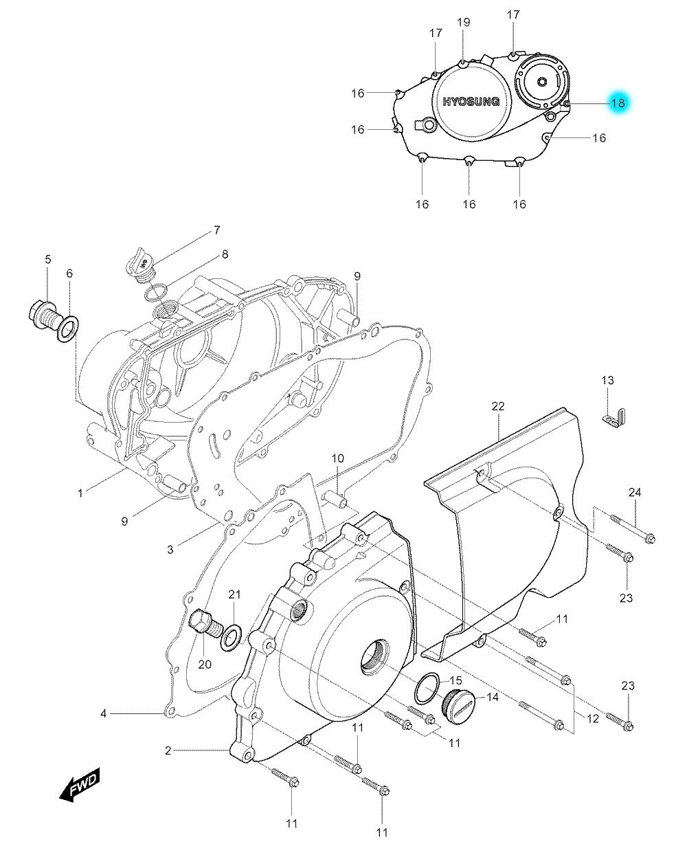 [18] Šroub (motor - kryty skříně) - Hyosung GV 250