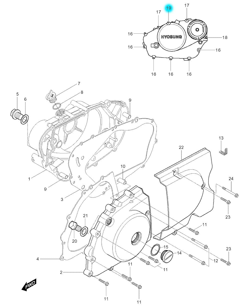 [19] Šroub (motor - kryty skříně) - Hyosung GV 250
