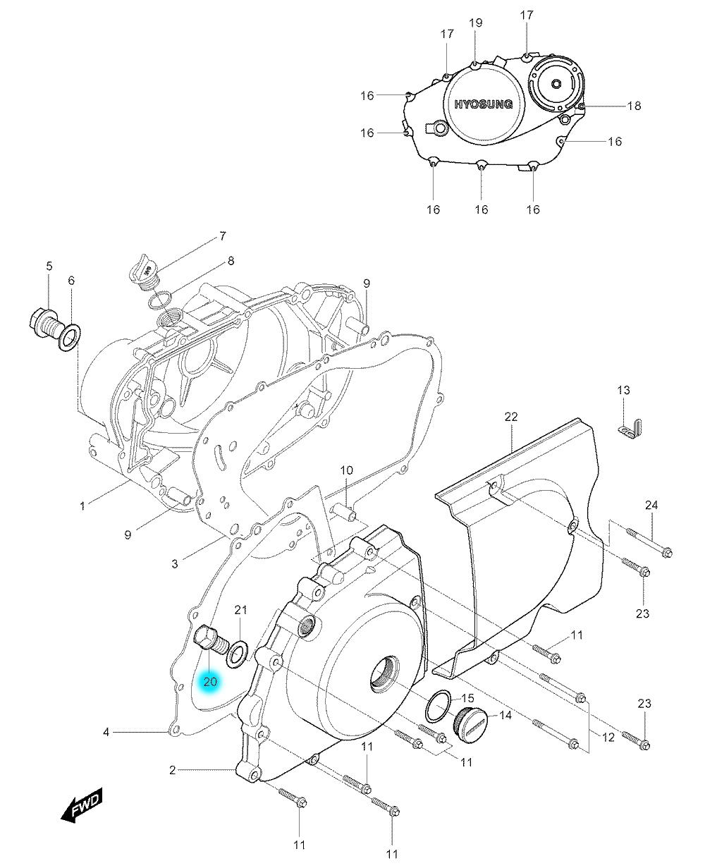 [20] Šroubová zátka (motor - kryty skříně) - Hyosung GV 250