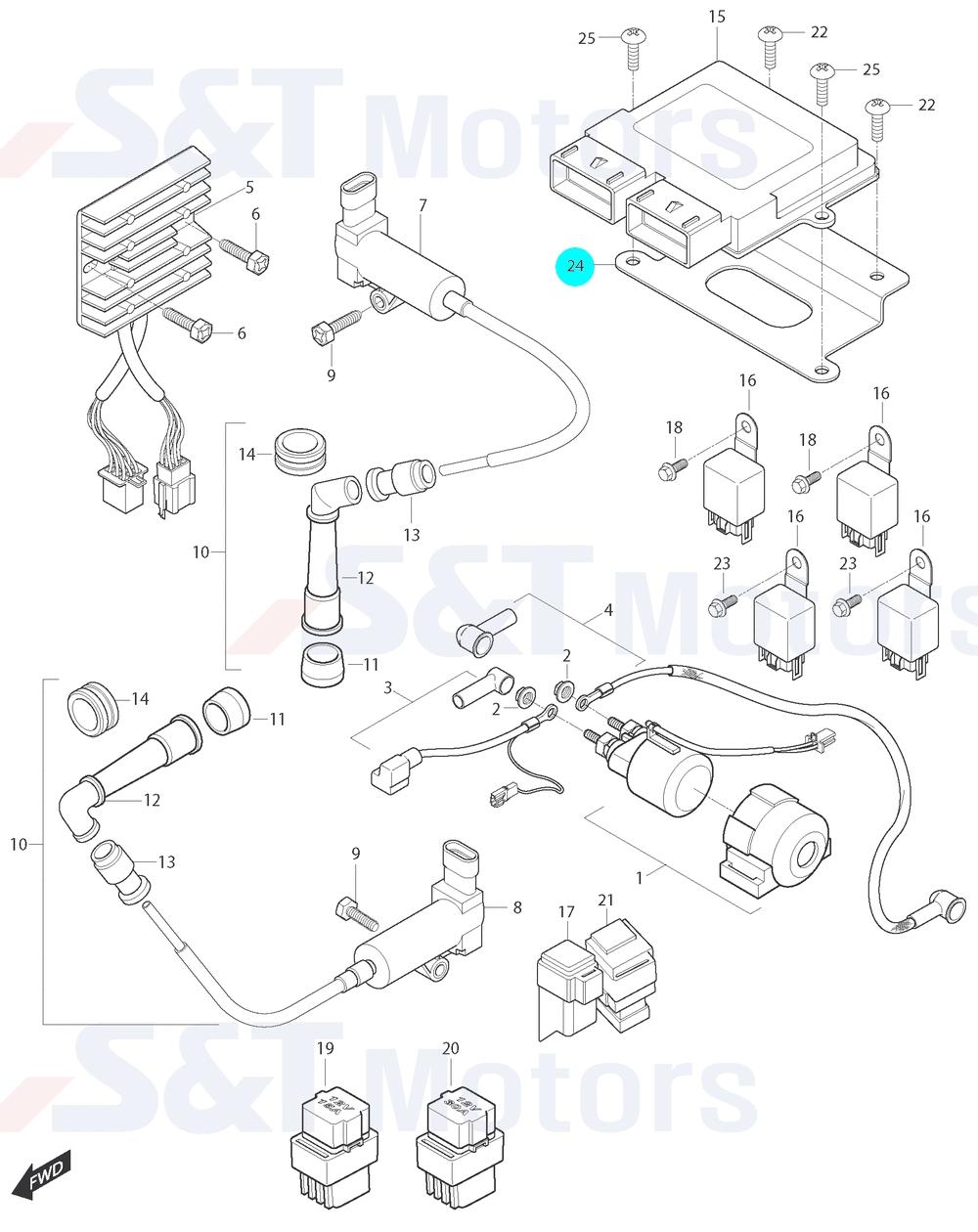 [24] Držák řídící jednotky (elektrické jednotky) - Hyosung ST 700i
