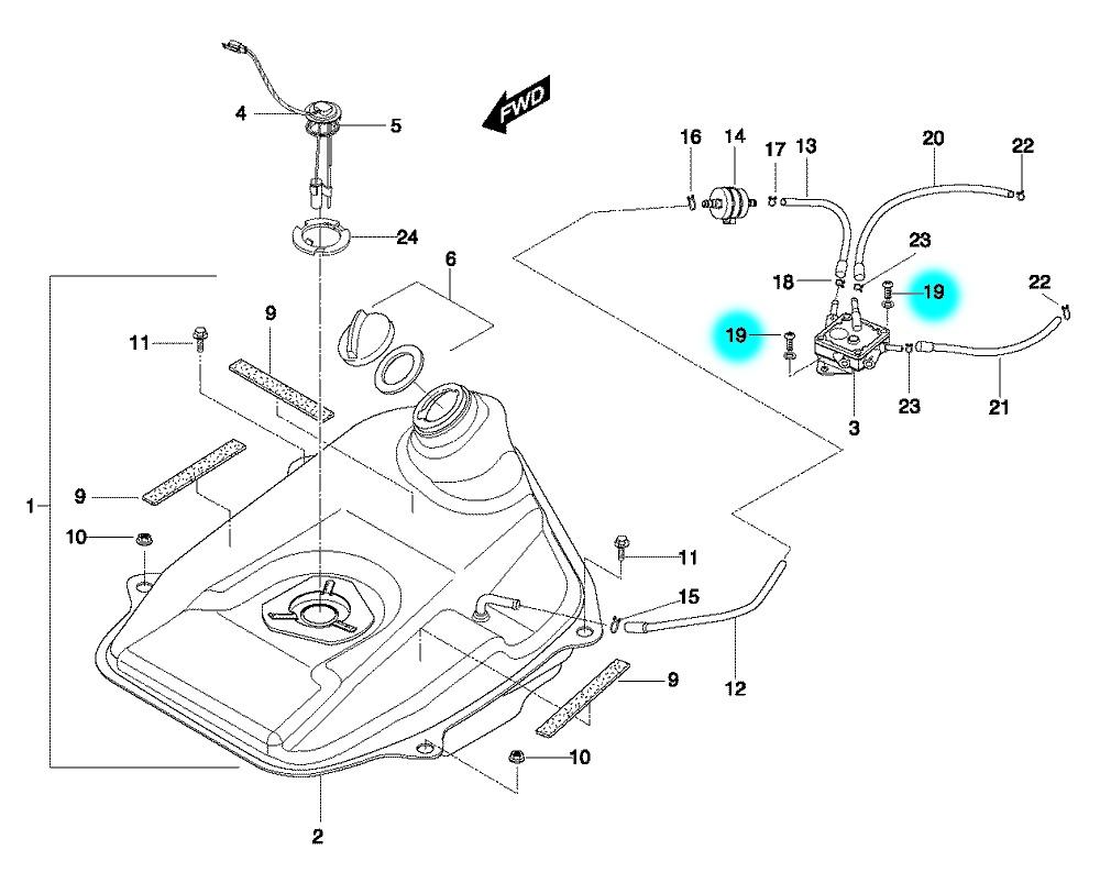 [19] Šroub k upevnění palivového čerpadla (benzínová nádrž) - Hyosung SF 50 B (RACING)
