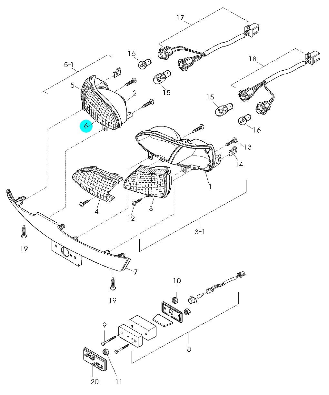 [6] Kryt levého zadního světla (zadní osvětlení kombinované) - Hyosung GPS 125 Hyper / Grand Prix