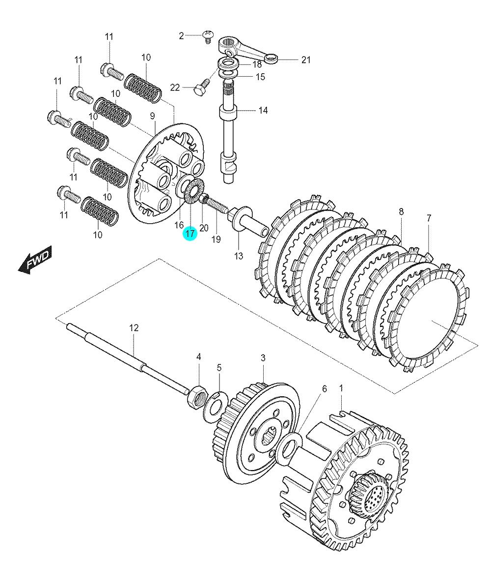[17] Podložka jistící (spojka) - Hyosung GT 125 N