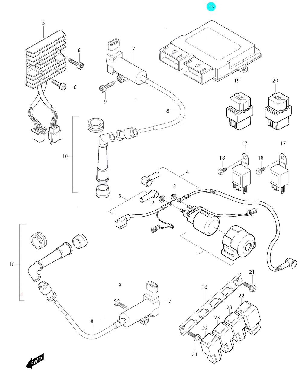 [15] Řídící jednotka ECU Delphi (elektrické jednotky) - Hyosung GT 650i R K (GT 650 RC)