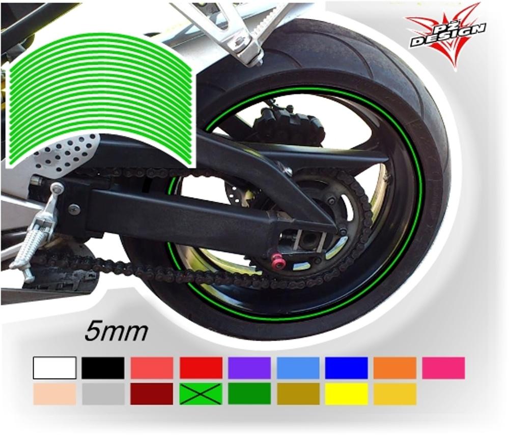 """Klasické proužky na ráfky kol, šíře 5 mm Barva: Zelená světlá, Velikost kola: 12"""" - 13"""""""