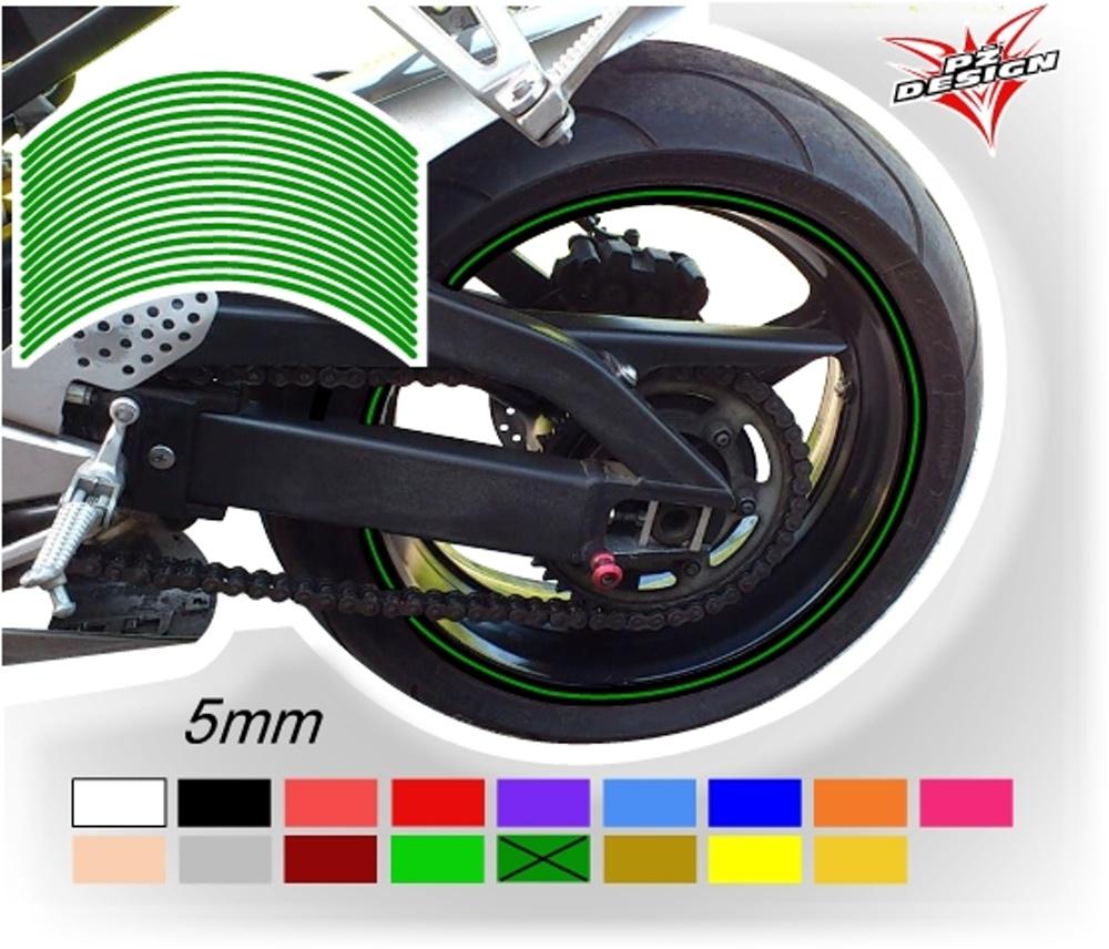"""Klasické proužky na ráfky kol, šíře 5 mm Barva: Zelená tmavá, Velikost kola: 12"""" - 13"""""""