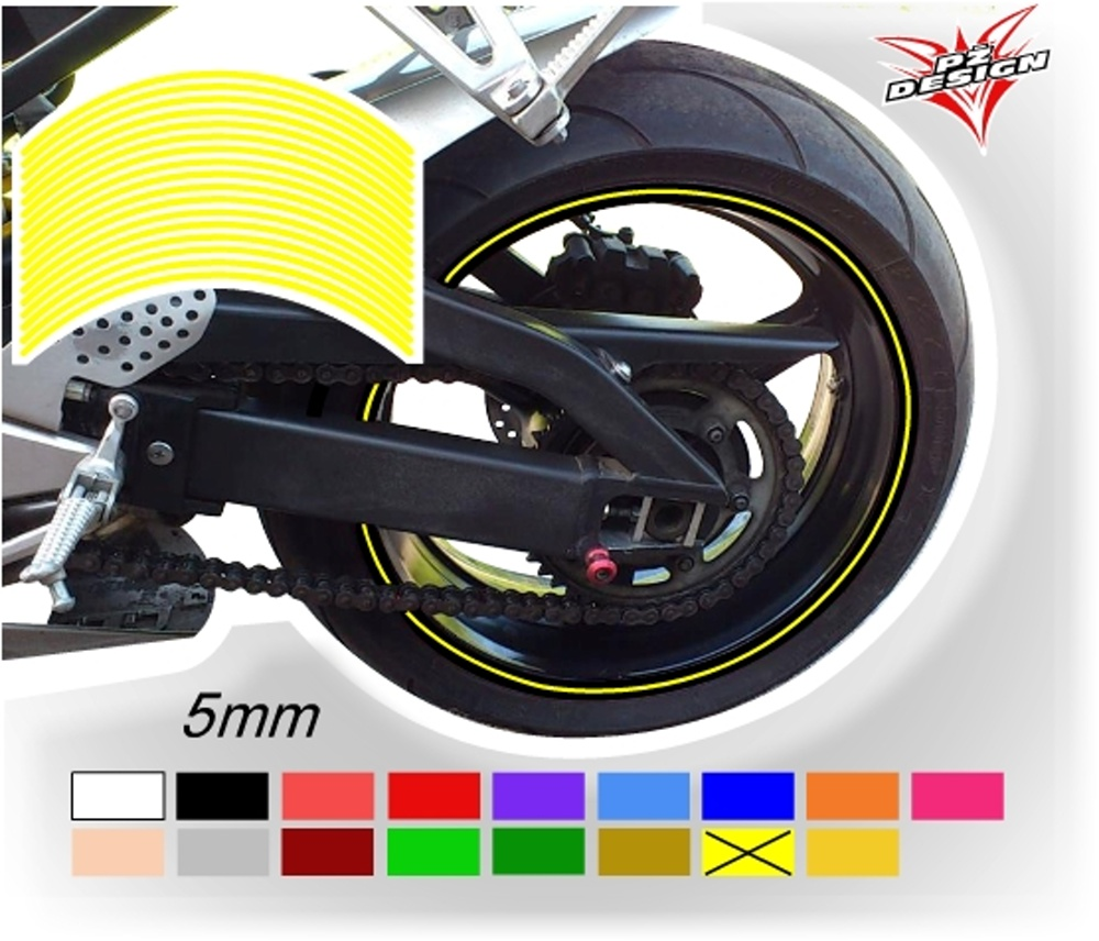 """Klasické proužky na ráfky kol, šíře 5 mm Barva: Žlutá světlá, Velikost kola: 12"""" - 13"""""""