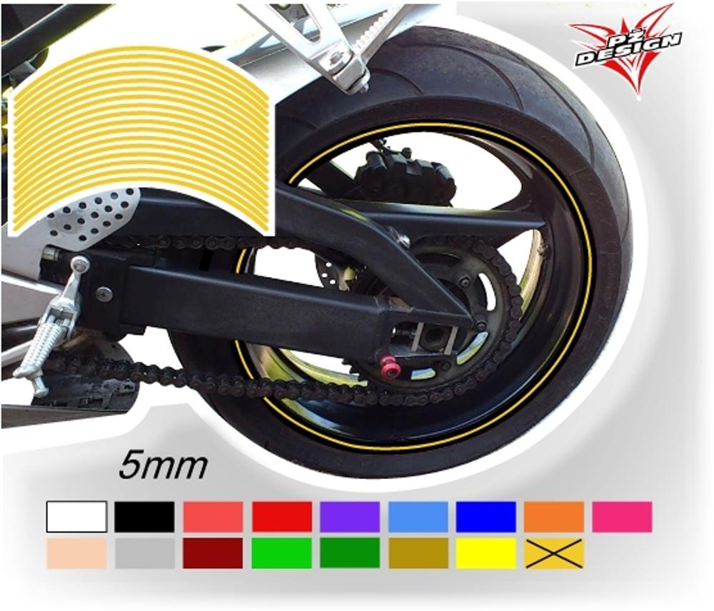 """Klasické proužky na ráfky kol, šíře 5 mm Barva: Žlutá tmavá, Velikost kola: 12"""" - 13"""""""